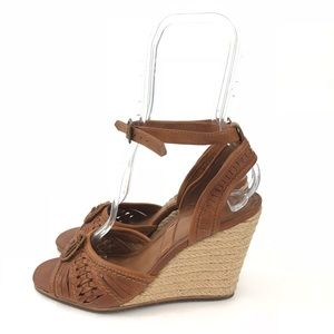 4814084a625 Frye Shoes - Frye Patricia Concho Wedge Sandal Brown Size 8